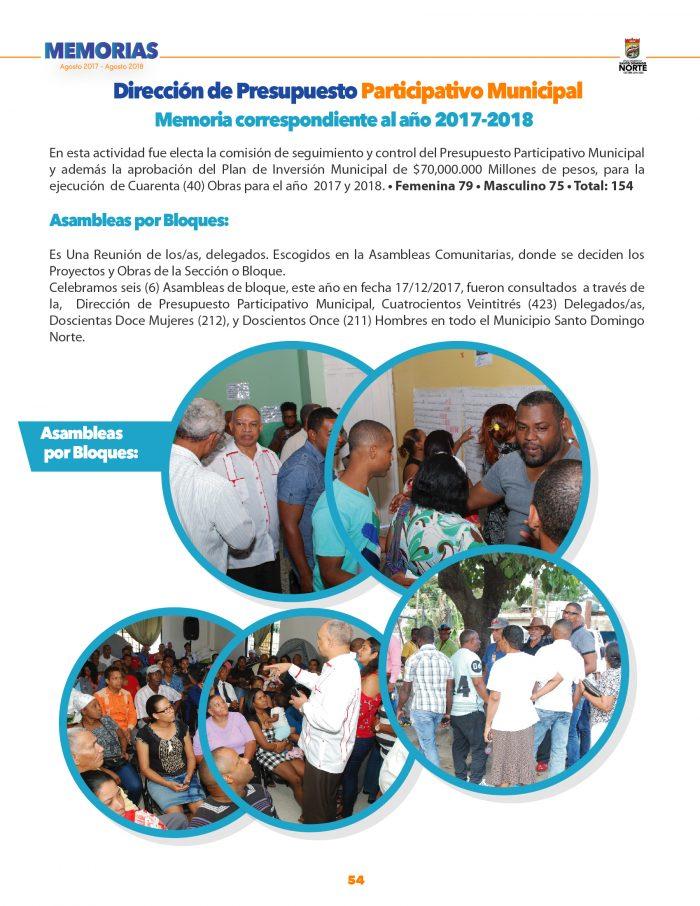 Memorias Alcaldía Santo Domingo Norte 2017-2018