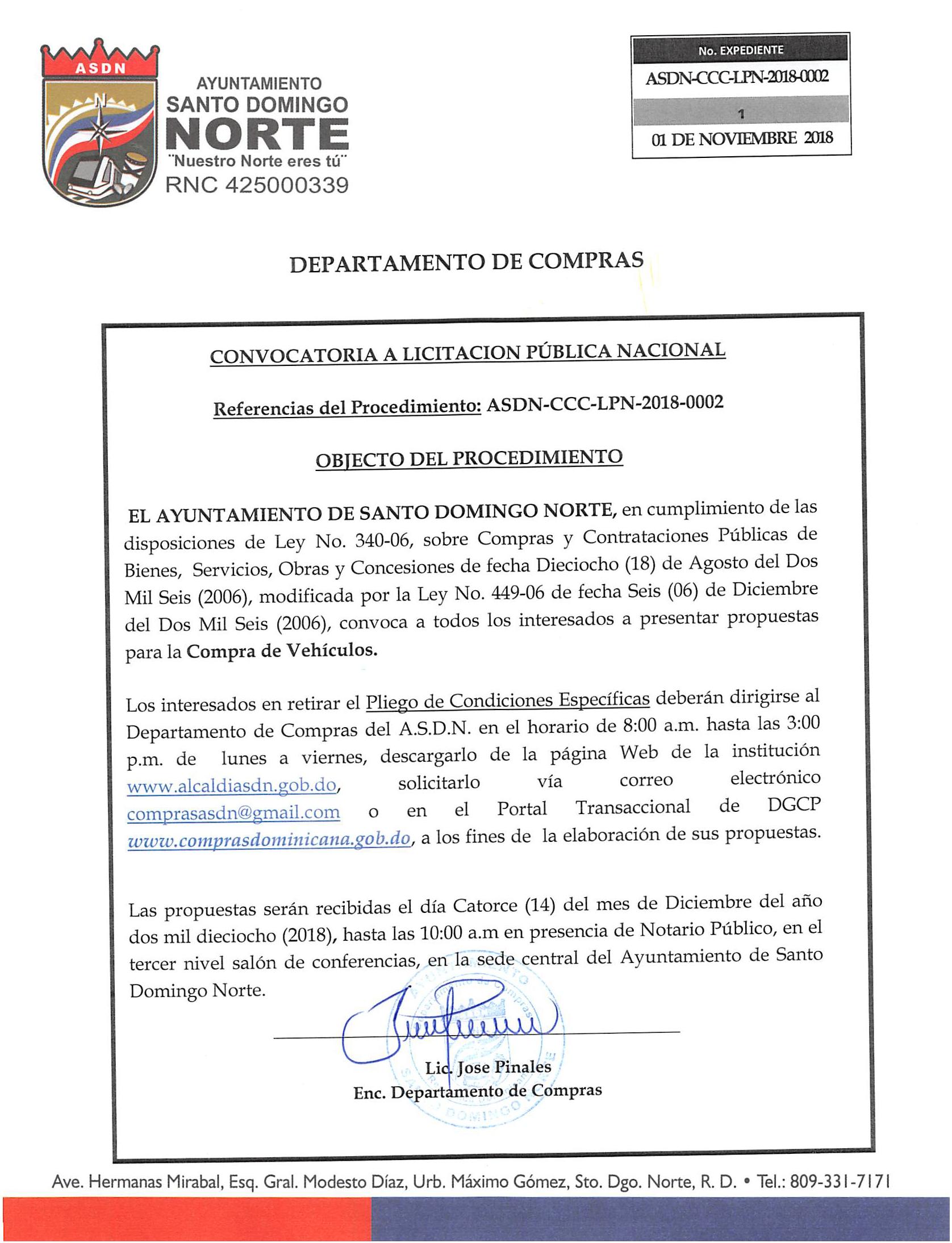 Convocatoria para Licitación Publica Nacional ASDN-CCC-LPN-2018-0002