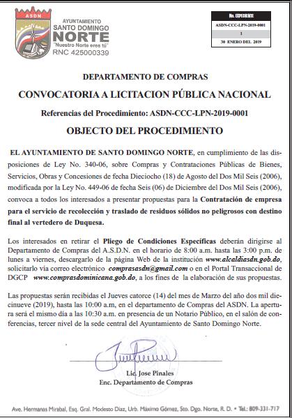 Convocatoria para Licitación Publica Nacional ASDN-CCC-LPN-2019-0001.