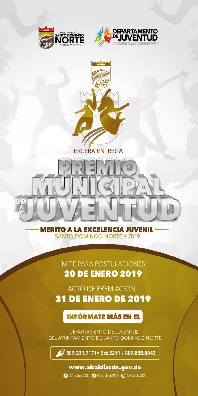 La Alcaldía de Santo Domingo Norte celebrará Premio Municipal de la Juventud 2019